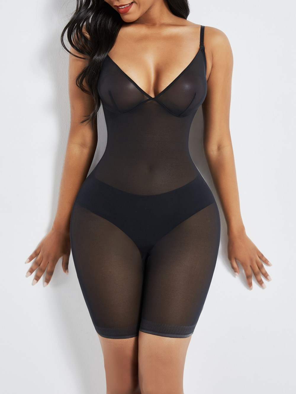 Black Open Gusset See Through Full Body Shaper Smooth Silhouette