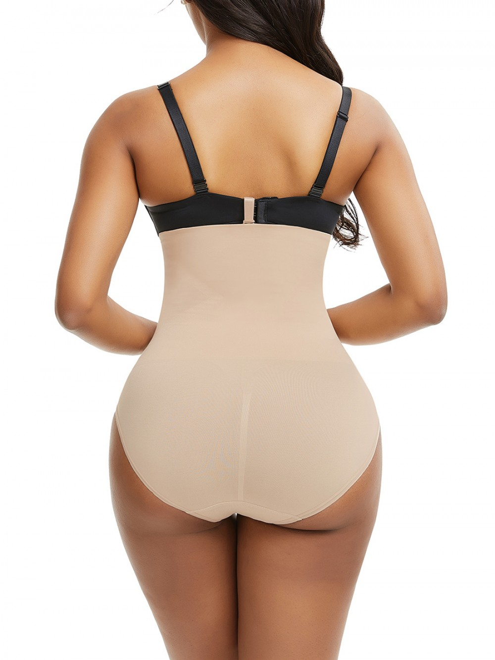 Skin Color Seamless Panty Solid Color Buckle Tummy Trimmer
