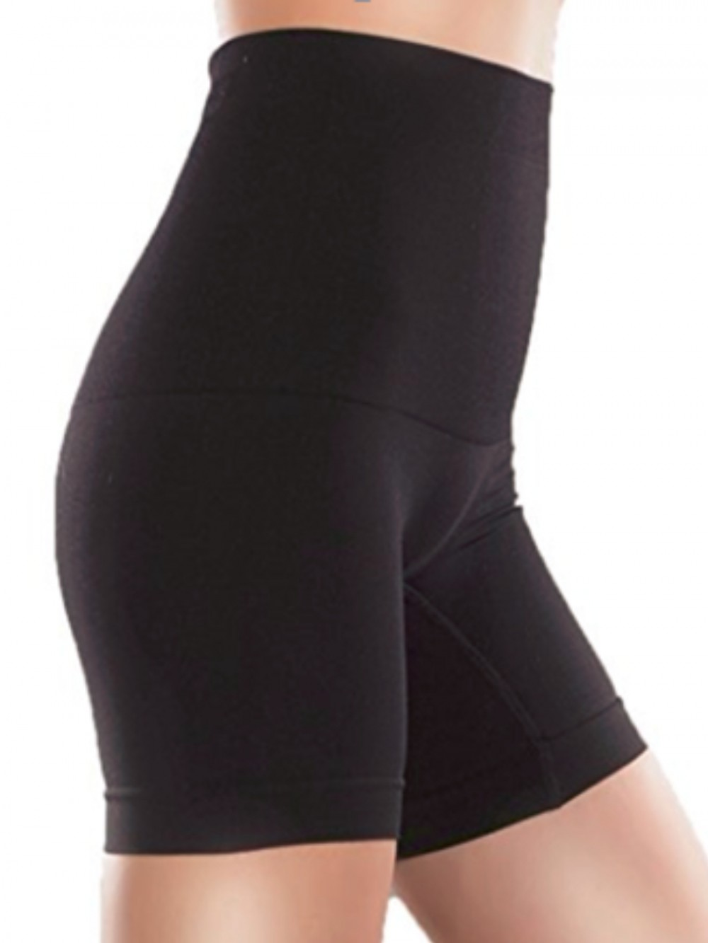 Black Wide Waistband Inner Mesh Thigh Length Shorts Cellulite Reducing