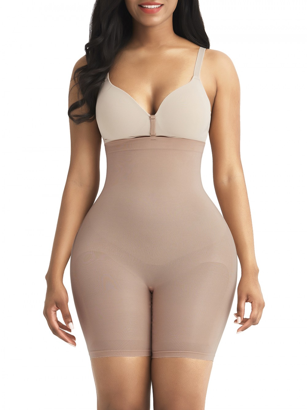 Skin Color High Waist Shapewear Shorts Seamless Thigh Length For Fitness