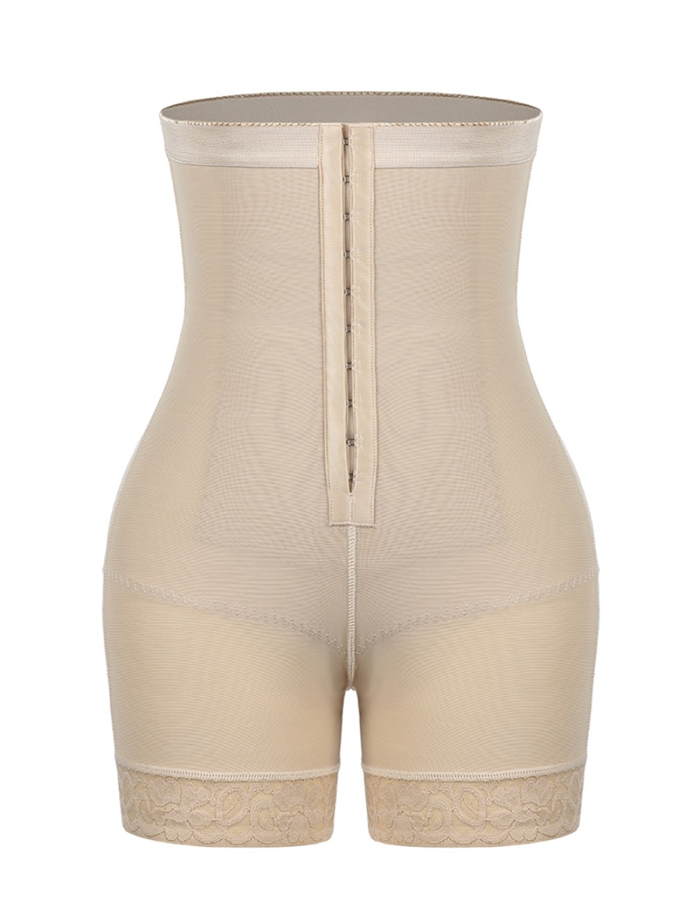 Skin Color High-Waist Tummy Control Shaper Shorts With Pads