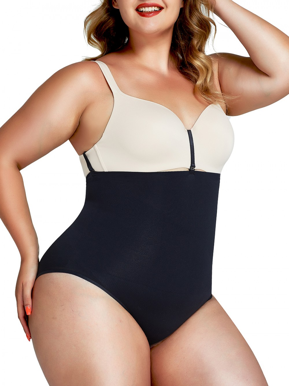 Black Large Size Seamless Buckle Panty Shaper Slimming Belly