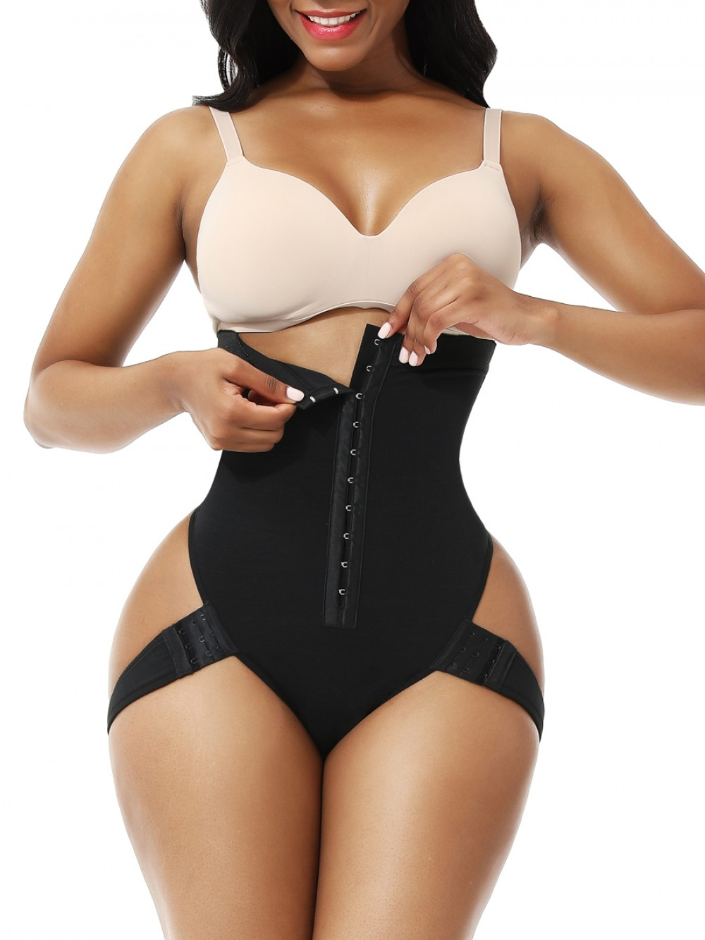 Black High Waist Butt Lifter With 2 Side Straps Good Elastic