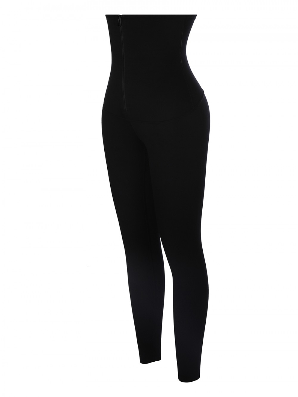 Black Waist Trainer 2-In-1 Leggings With Zipping Firm Compression