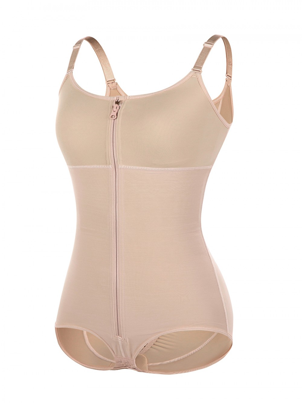 Skin Color Full Body Shaper Adjustable Straps Big Size Thermo Heating