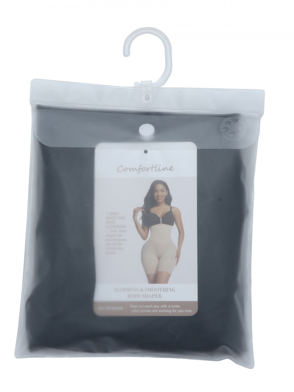 Black Panty Shaper Hollow Out Solid Color Smooth Silhouette