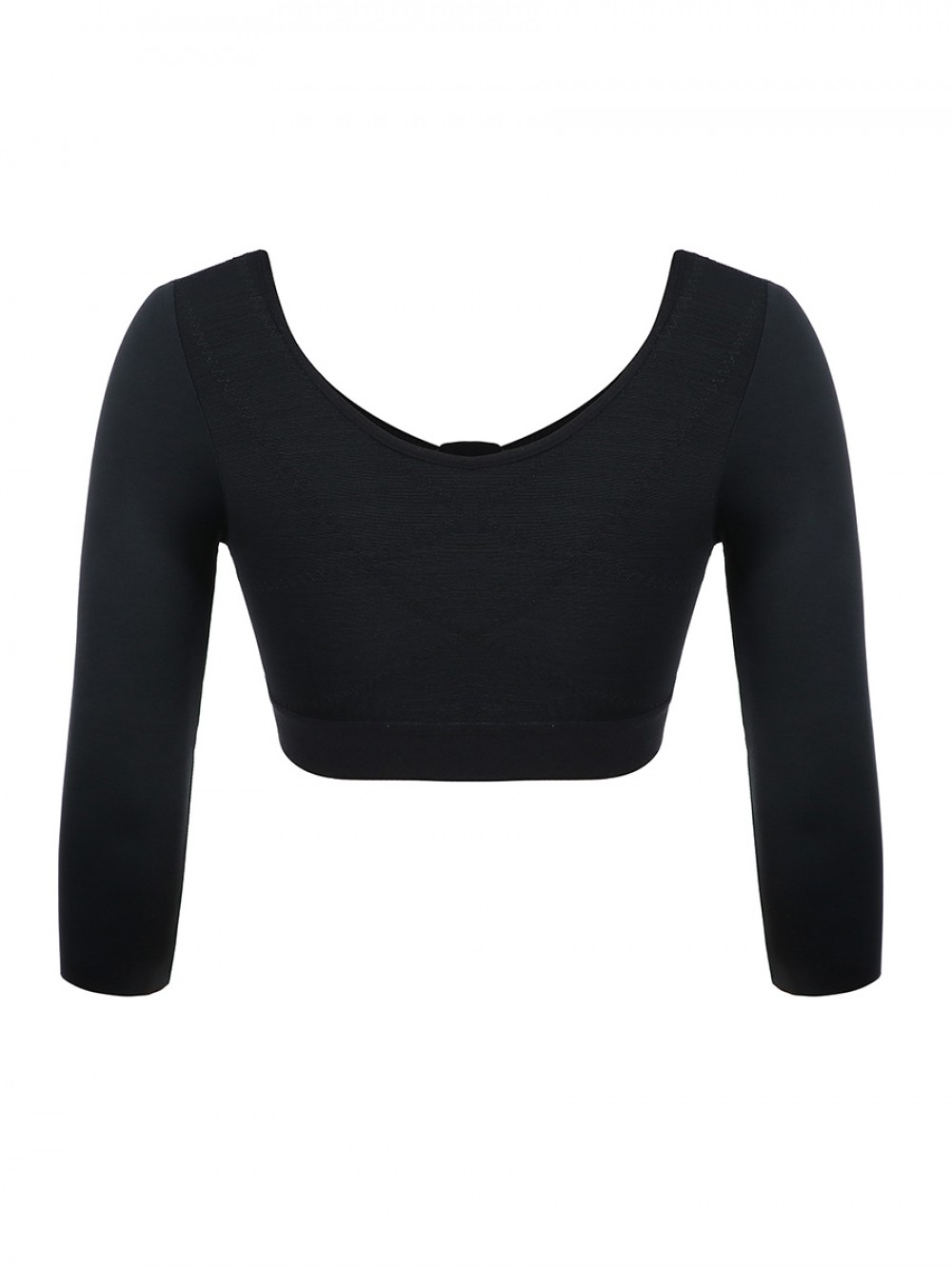 Black Front Zipper Shapewear Top Hollow Bust Slimming Arms