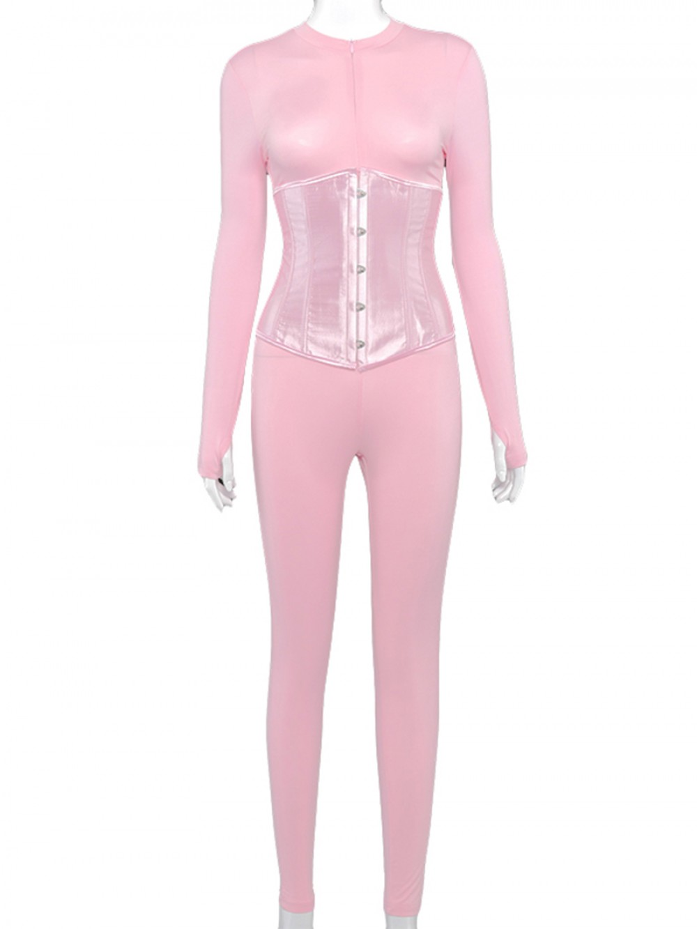 Pink Jumpsuit Corset Suit Zip Neck With Thumbhole Stunning Style