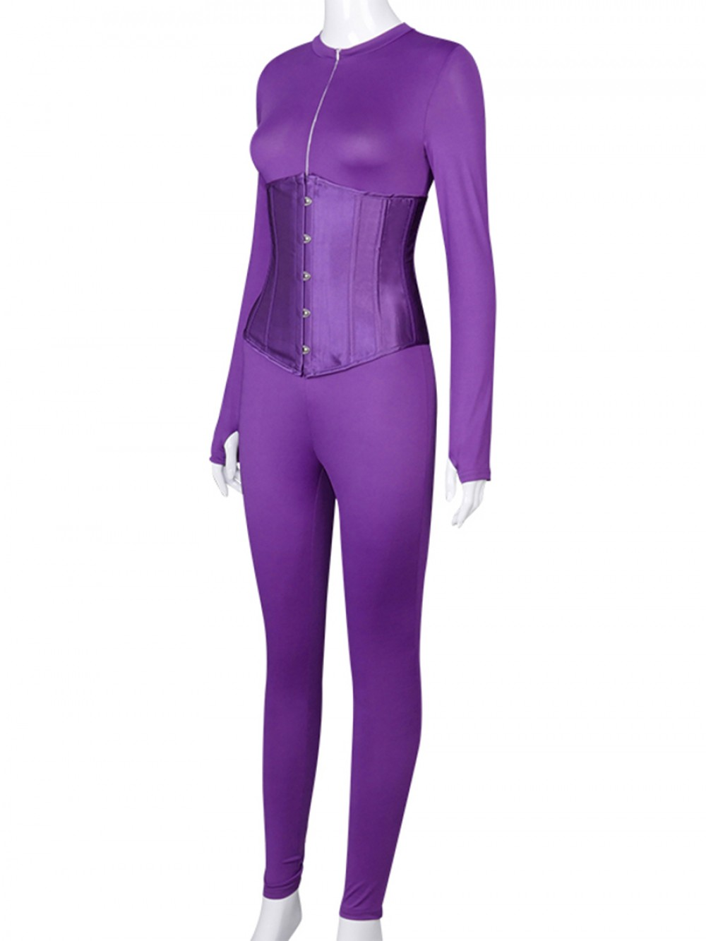 Purple Solid Color Long Sleeve Jumpsuit With Corset Cheap Fashion Style