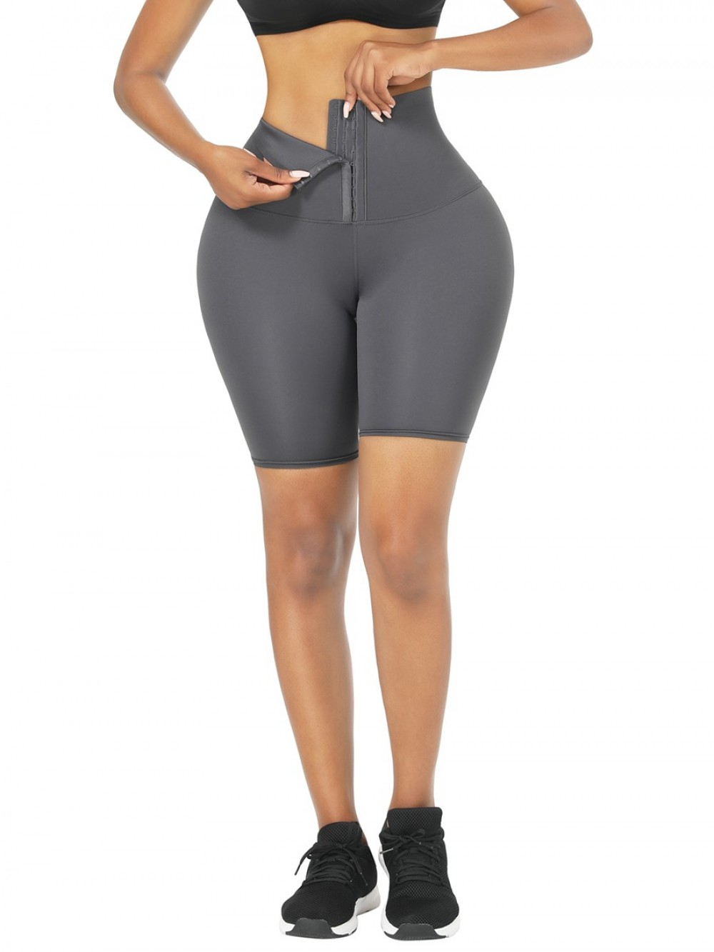 Gray 2-In-1 Tummy Control Waist Trainer Shorts Mid-Thigh Compression