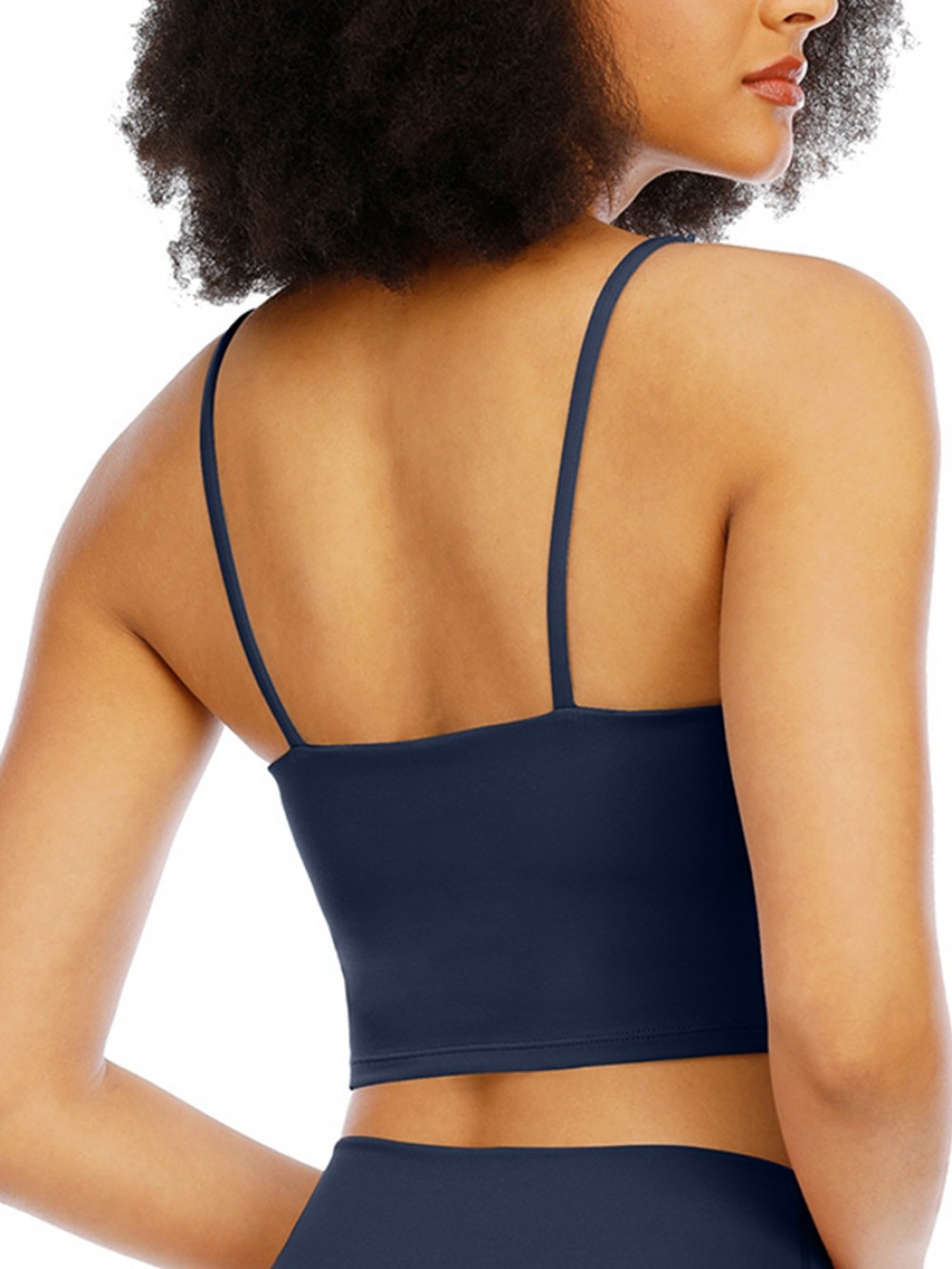 Deep Blue Longline Sports Bra Wirefree Padded All Over Smooth
