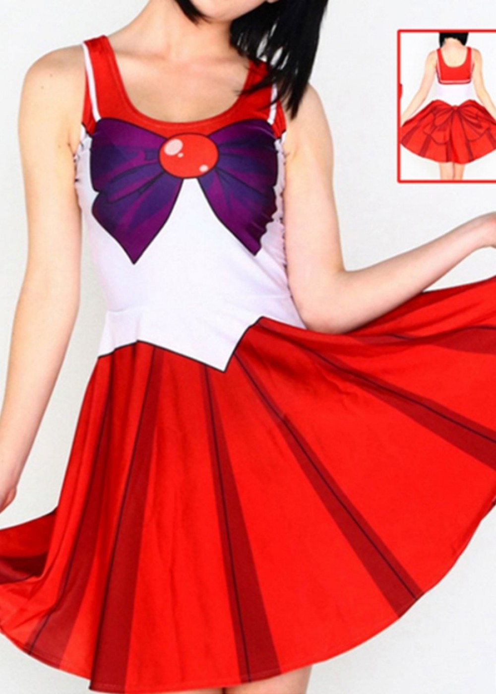 Red Sailor Moon Costume with Bowknot Lingerie