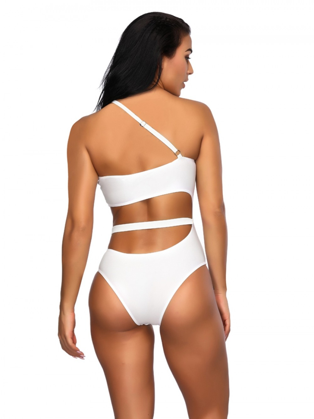 White One Piece Swimsuit Hollow Out Solid Color For Swimming