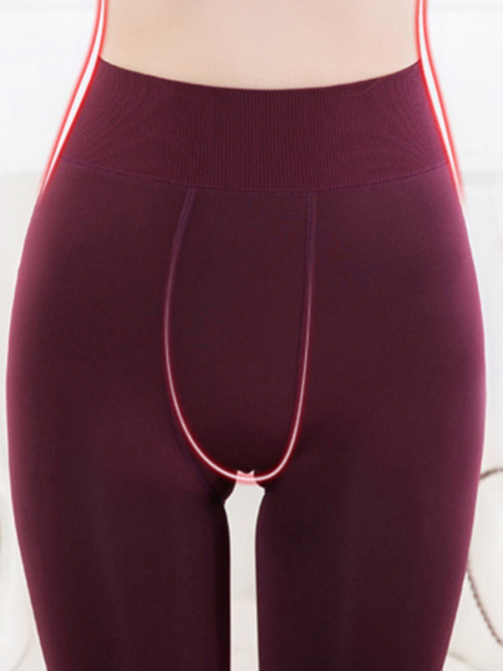 Wine Red Thickened Tight Pants Ankle Length