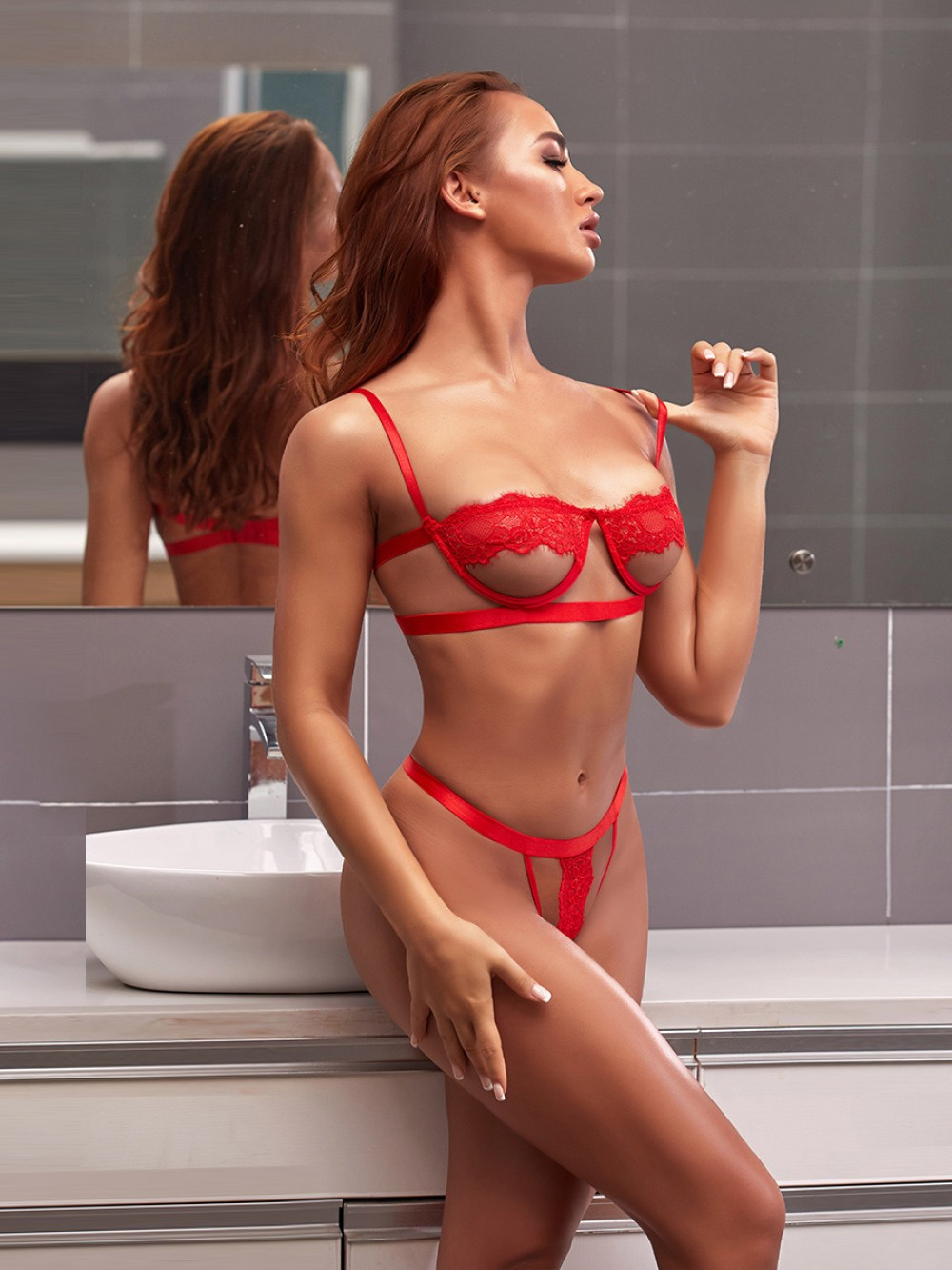Tantalizing Red Lace Patchwork Hollow Out Bralette Lightweight