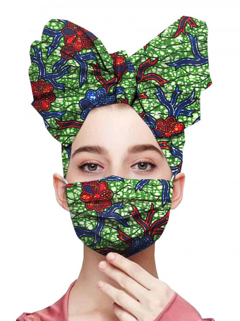 Delicate African Paint Cotton Headscarf And Mask Seamless