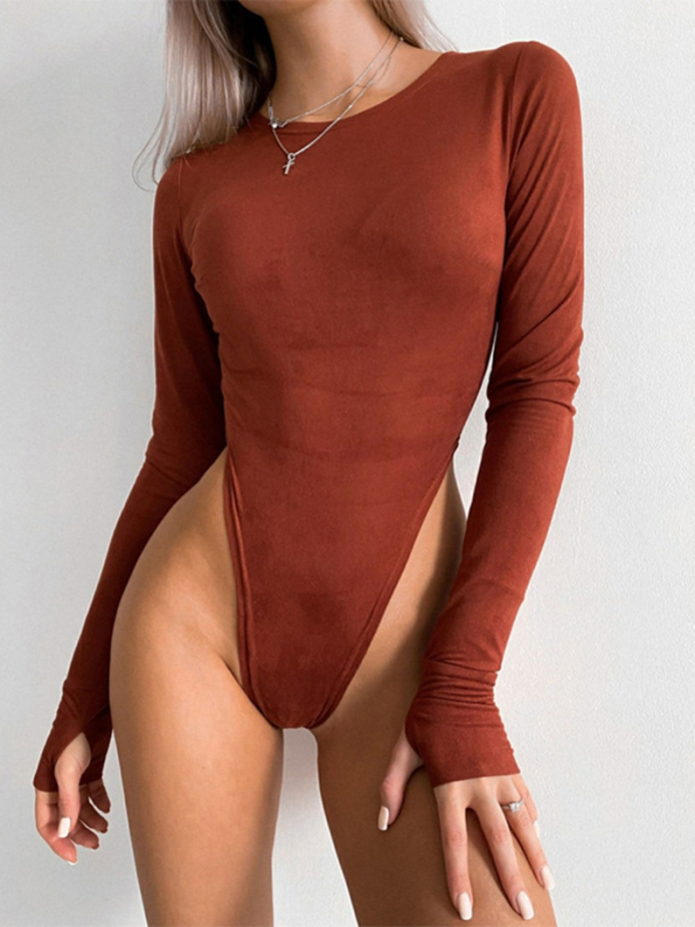 Brown Plain Long Sleeve Bodysuit With Thumbhole Tops For Women