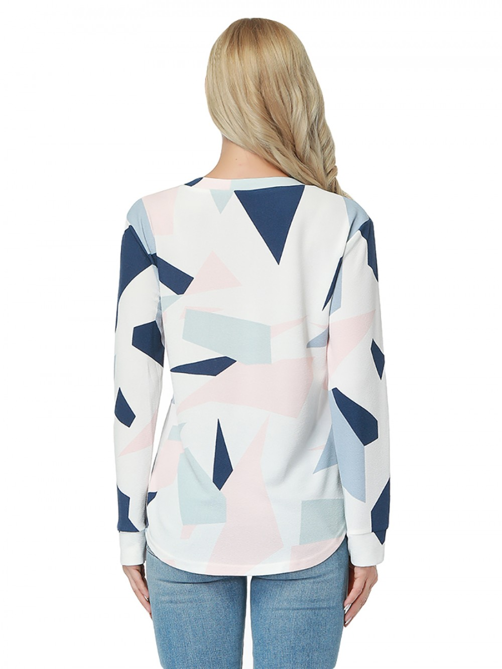 Mix Color Allover Geometric Printing Blouse Long Sleeves
