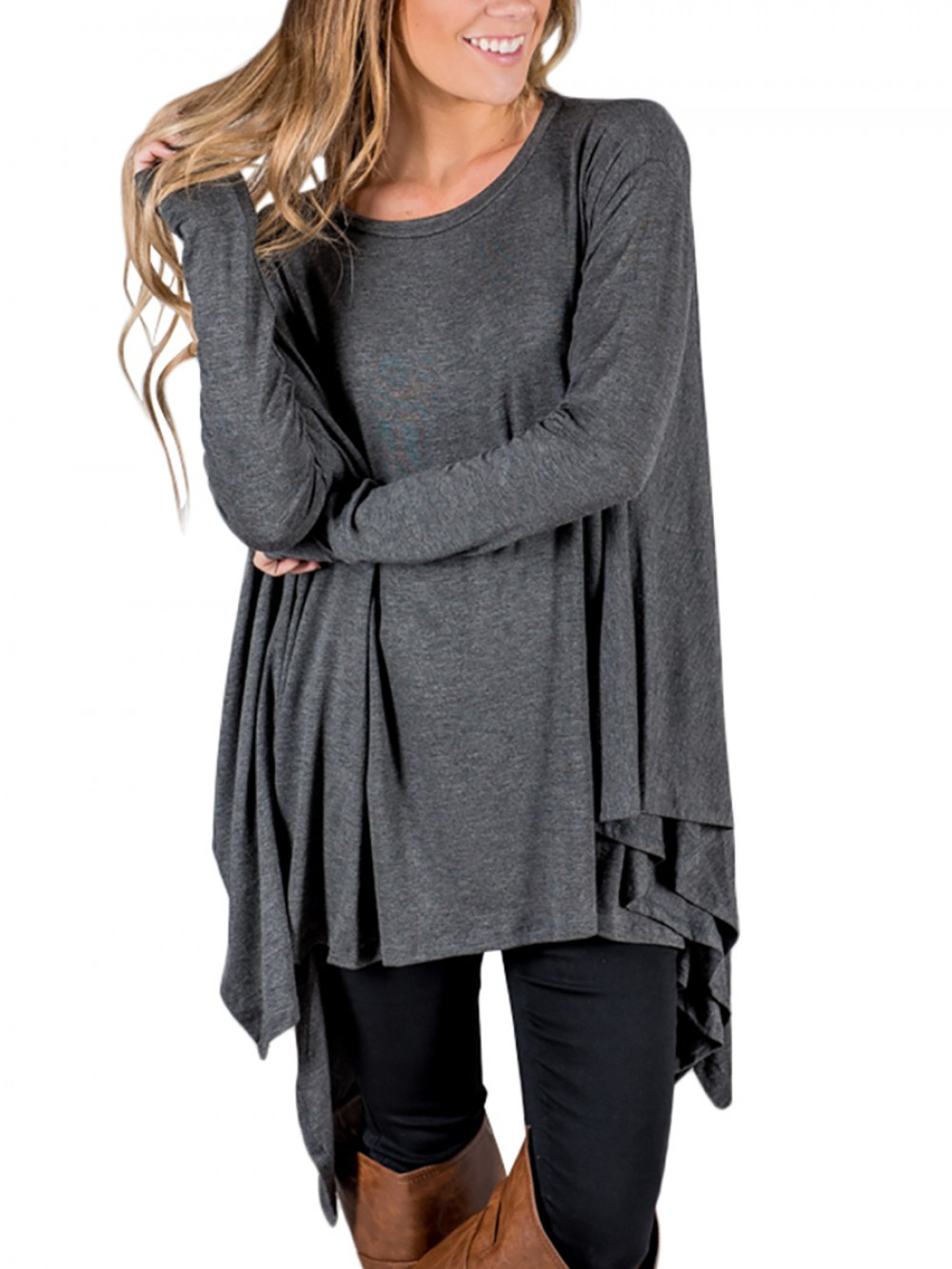 Trendy Grey Full Sleeves High Low T-Shirt Traceless