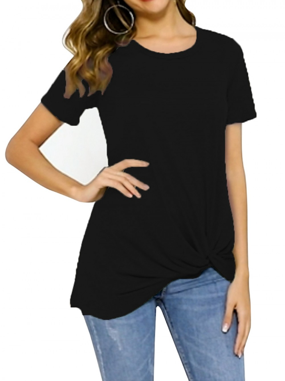 Black Round Collar Short Sleeves Knotted Shirt Soft-Touch