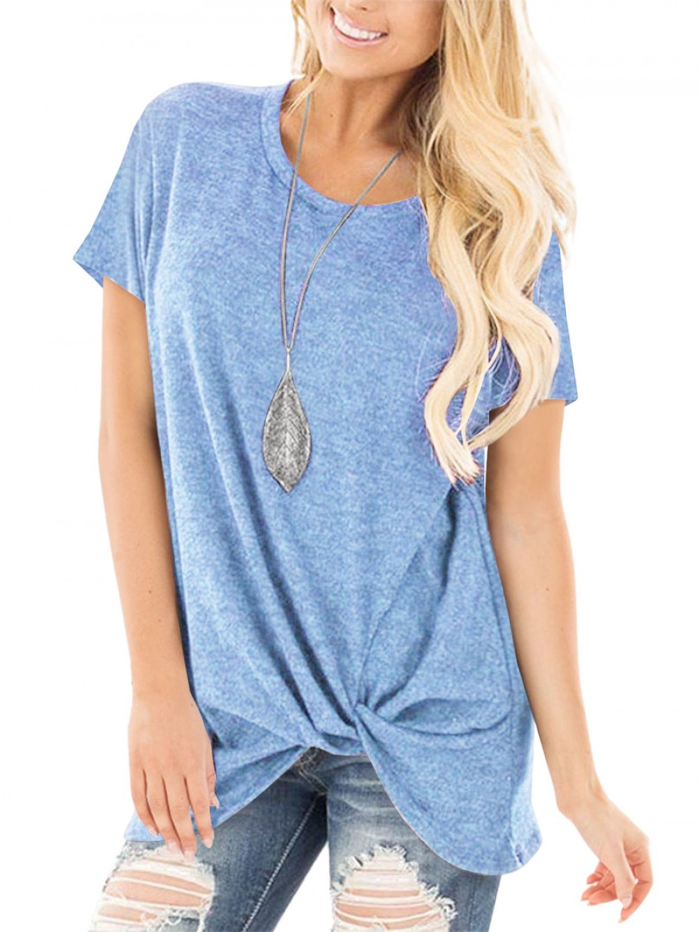 Blue Shirt Crew Neck Solid Color For Women
