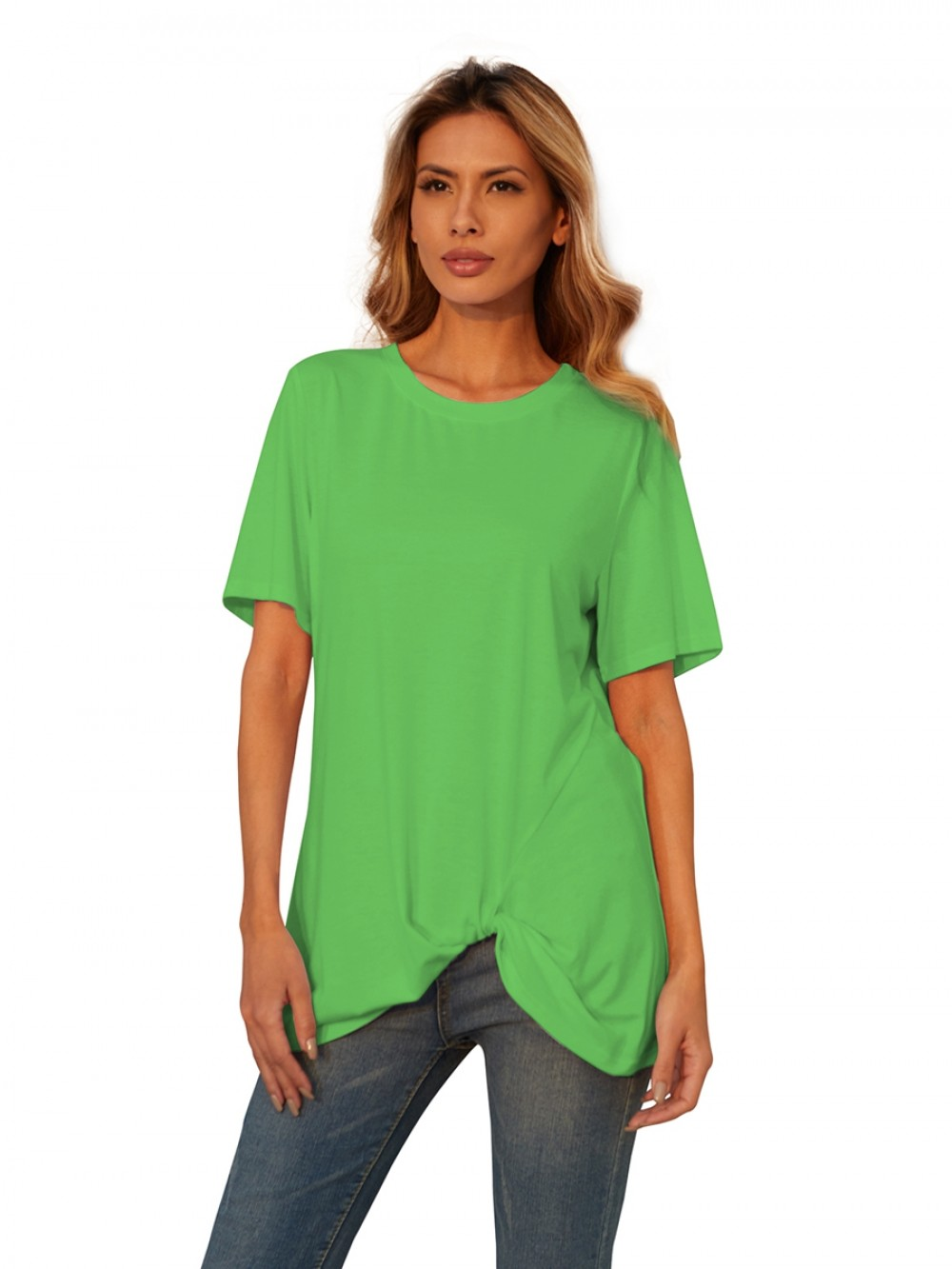 Green Short Sleeves Knotted Front Hip Length Casual Clothing