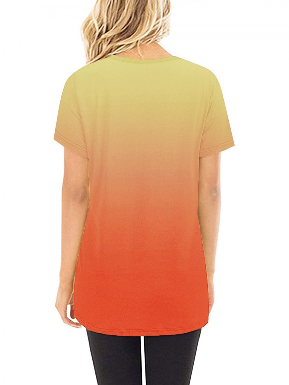 Gradient T-Shirt Round Collar Knotted Cheap Fashion Style