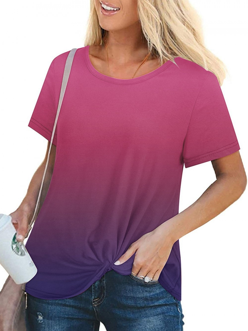 Rounded Hem Gradient Color T-Shirt For Sauntering