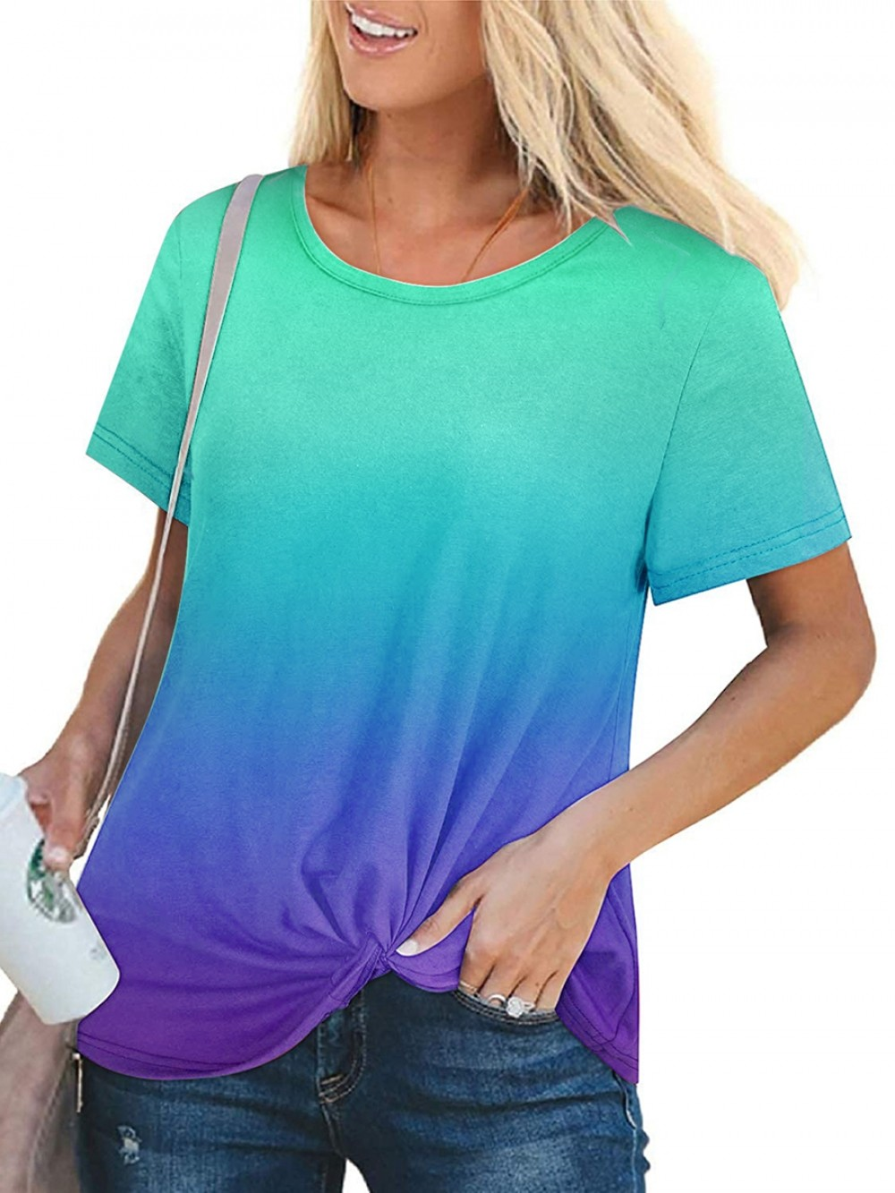 Short Sleeve Crew Neck Knot Shirt For Traveling
