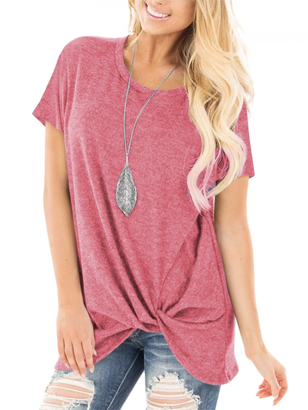 Pink Hip Length Round Collar T-Shirt For Streetshots