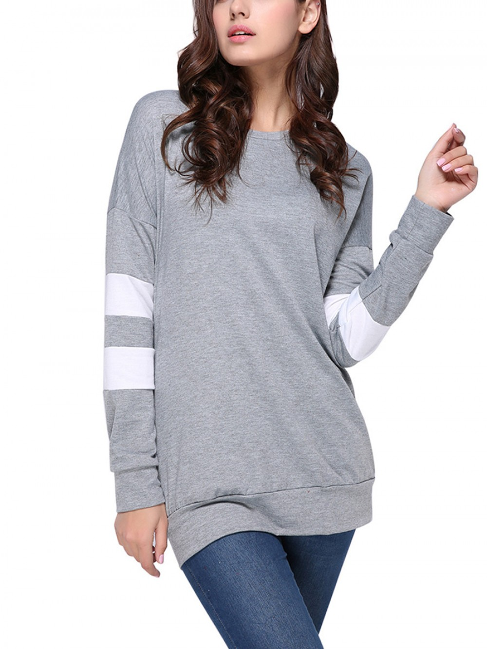 Gray Knitted Sweatshirt Round Neck Long Sleeves