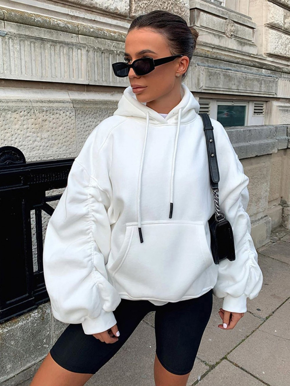 White Hoodie Solid Color Full Sleeve Pocket Best Materials