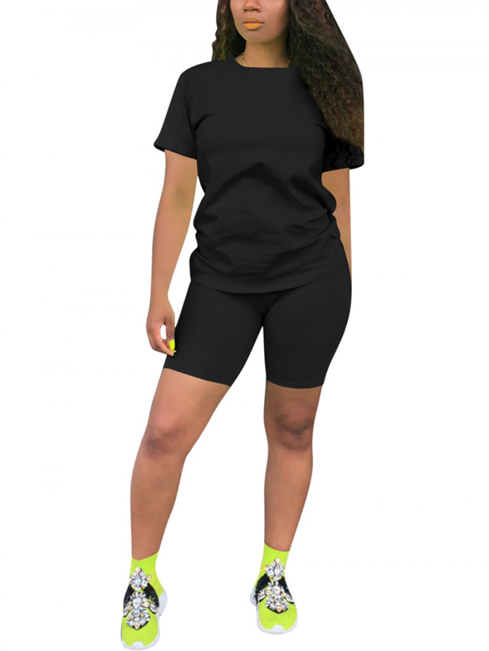 Tailored Black Plus Size Sports Suit Short-Sleeves Modern