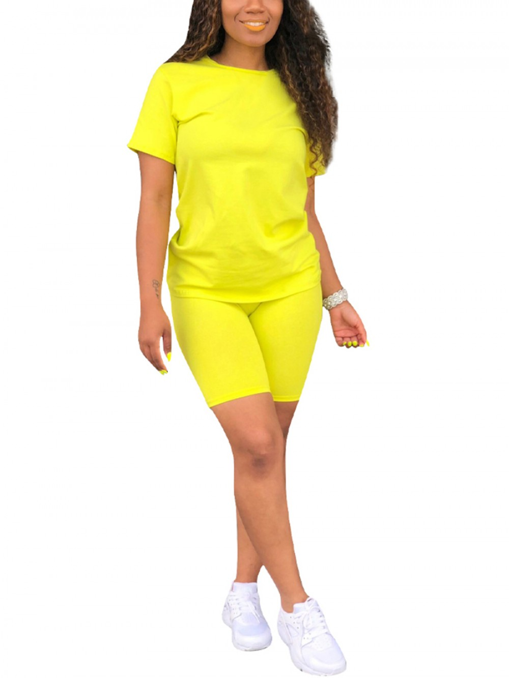 Dreamlike Yellow Solid Color Short Sleeves Sweat Suit For Women