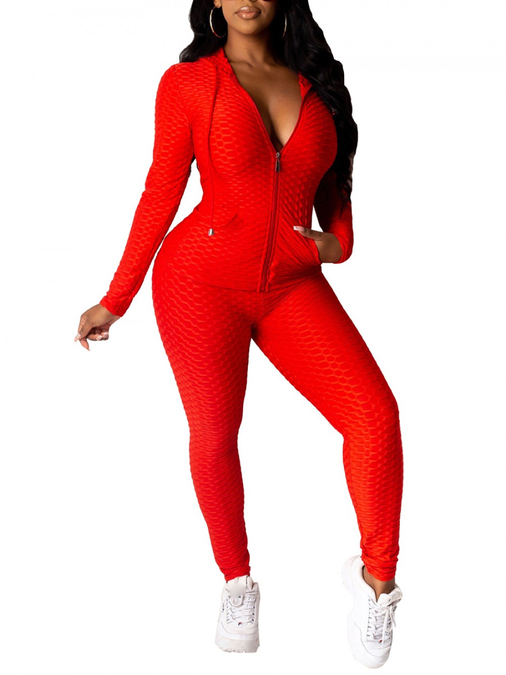 Red Hooded Neck Zipper Pocket Sports Suit Svelte Style