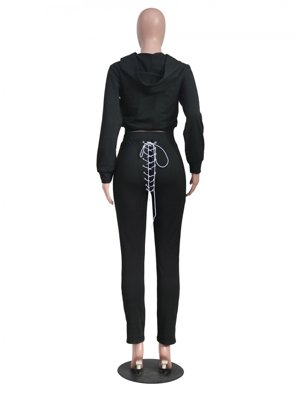 Black Hooded Collar Long Sleeve Women Suit New Fashion