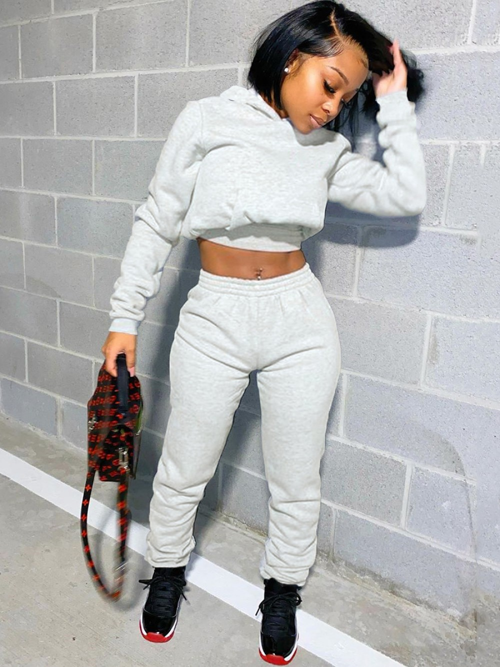Gray Solid Color Hooded Collar 2-Piece Outfits Casual Women Clothes