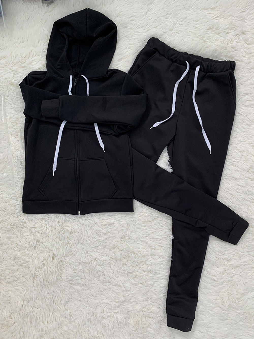 Black Hooded Neck High Waist 2 Piece Outfit Online Wholesale