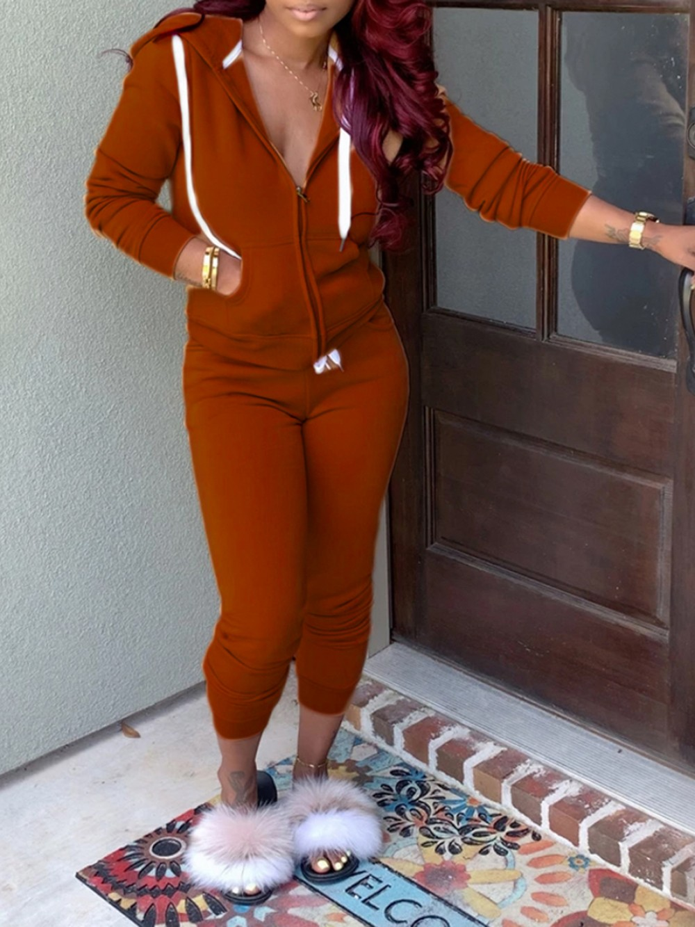Brown Front Zipper Hoodie Two Piece Outfit Ultimate Comfort