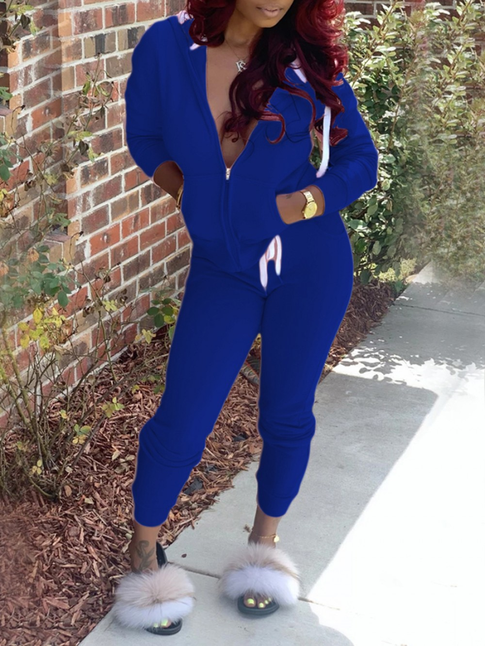 Deep Blue Plain Hood Two Piece Outfit With Zipper For Hiking
