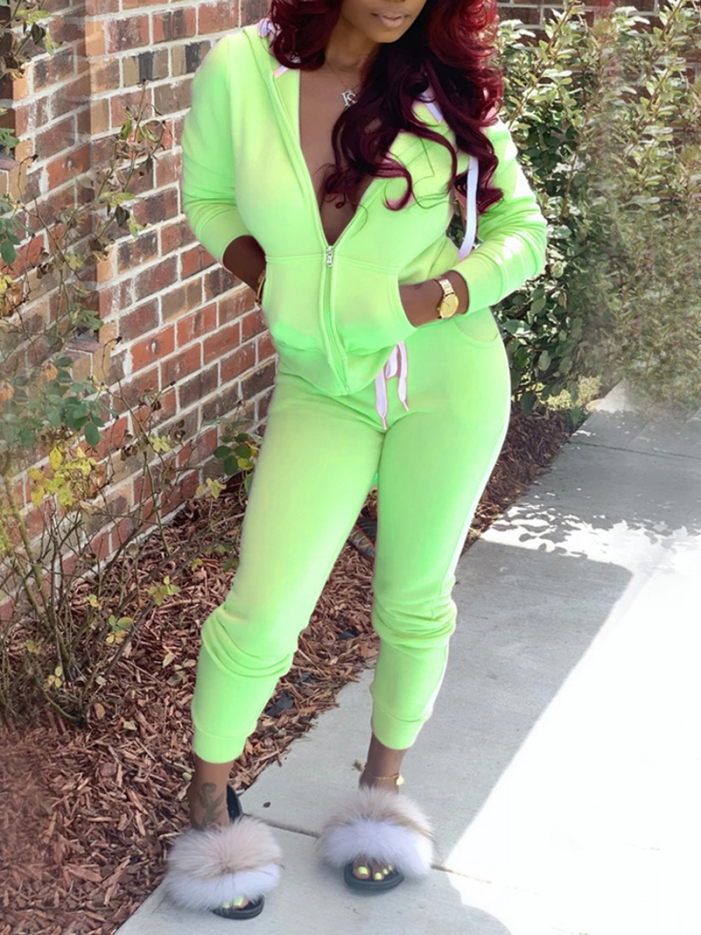 Green High Waist Drawstring Two Piece Outfit Women Outfit