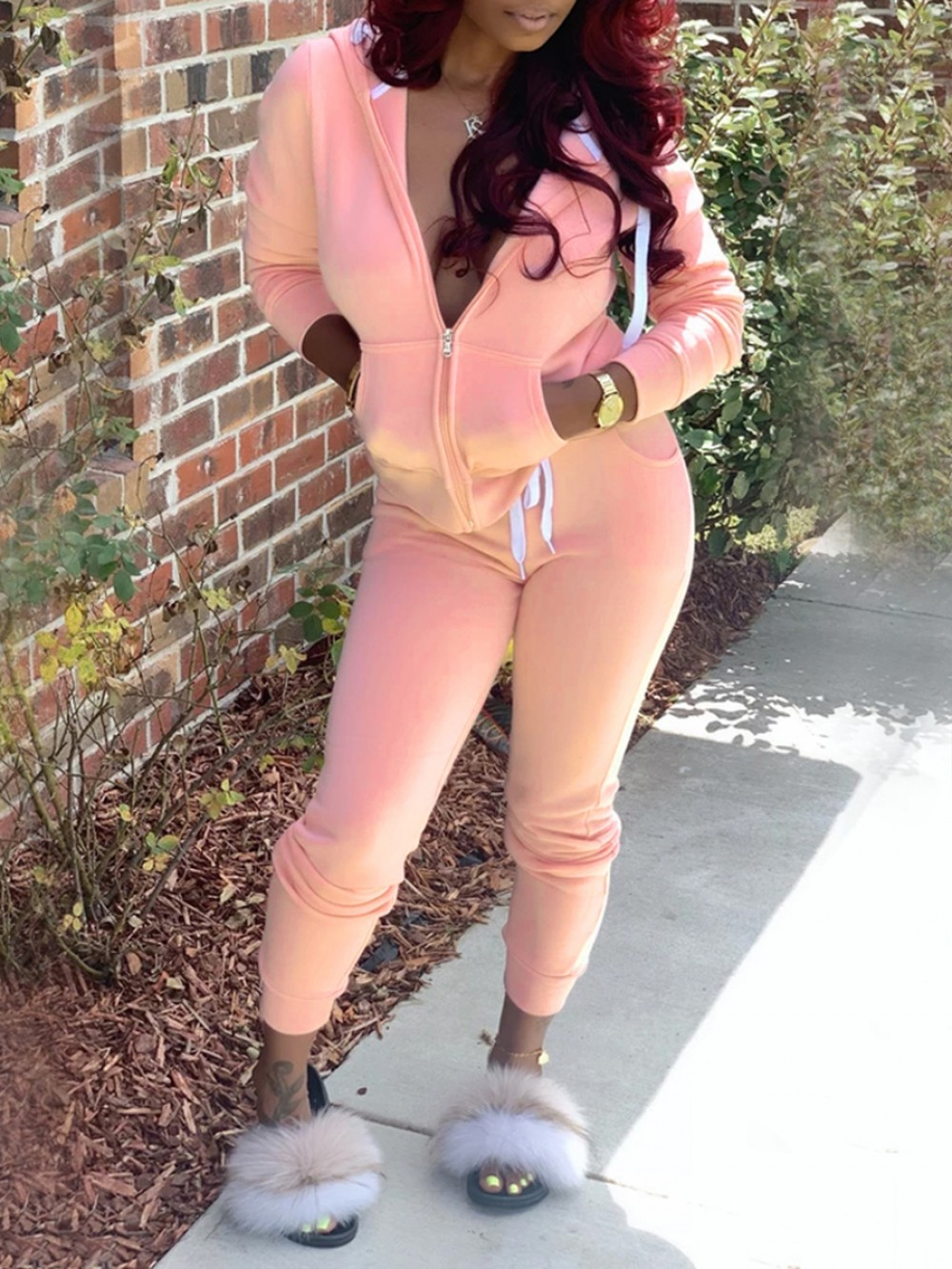 Pink Solid Color Drawstring Two Piece Outfit For Every Occasion