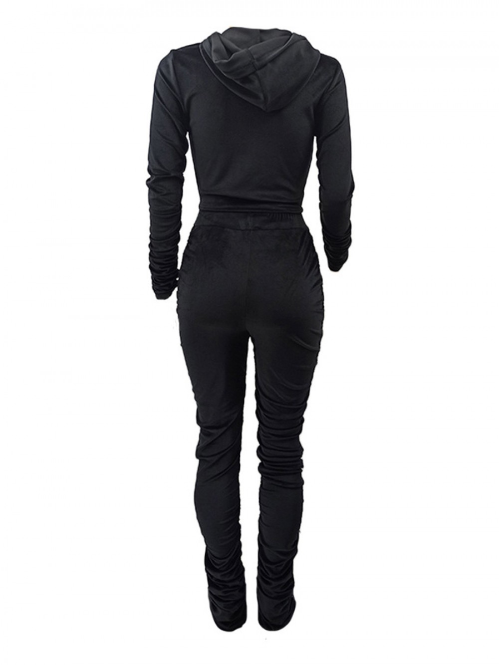Black Golden Velvet Two Piece Outfit With Zip Fashion Essential