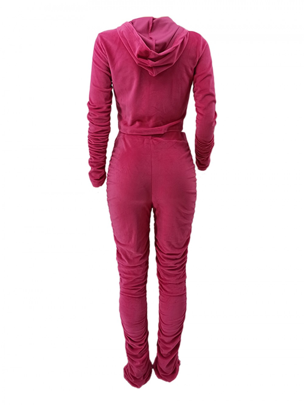 Pink High Waist Two Piece Outfit With Zipping Lady Clothing