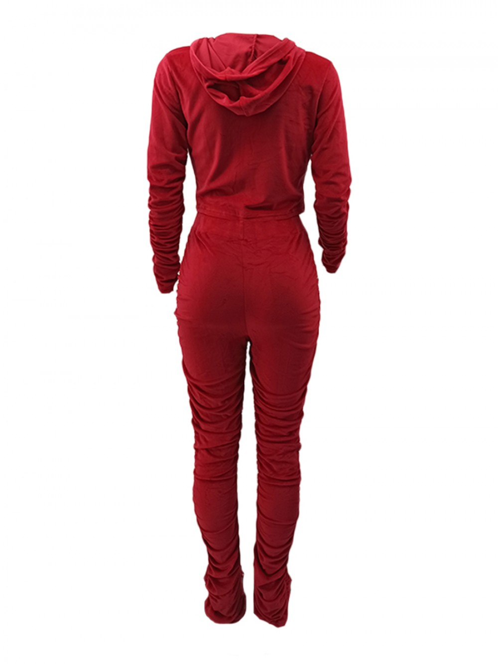 Red Ruched High Waist Zipper 2 Piece Outfit Casual Wear