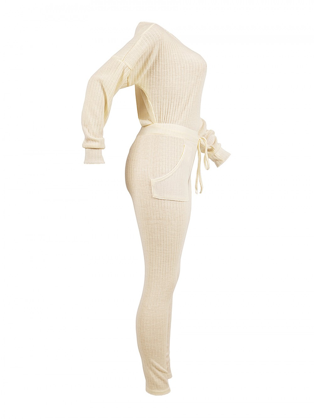 Cheeky Creamy-White High Rise Two-Piece Oblique Shoulder