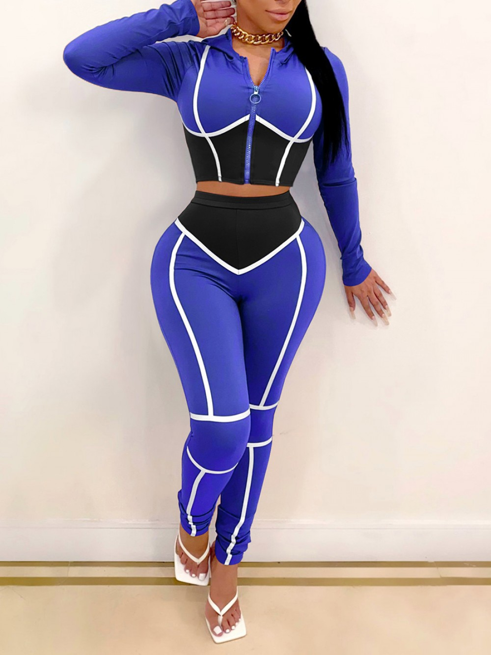 Blue Contrast Color 2 Piece Outfits Hooded Neck Modern Fashion