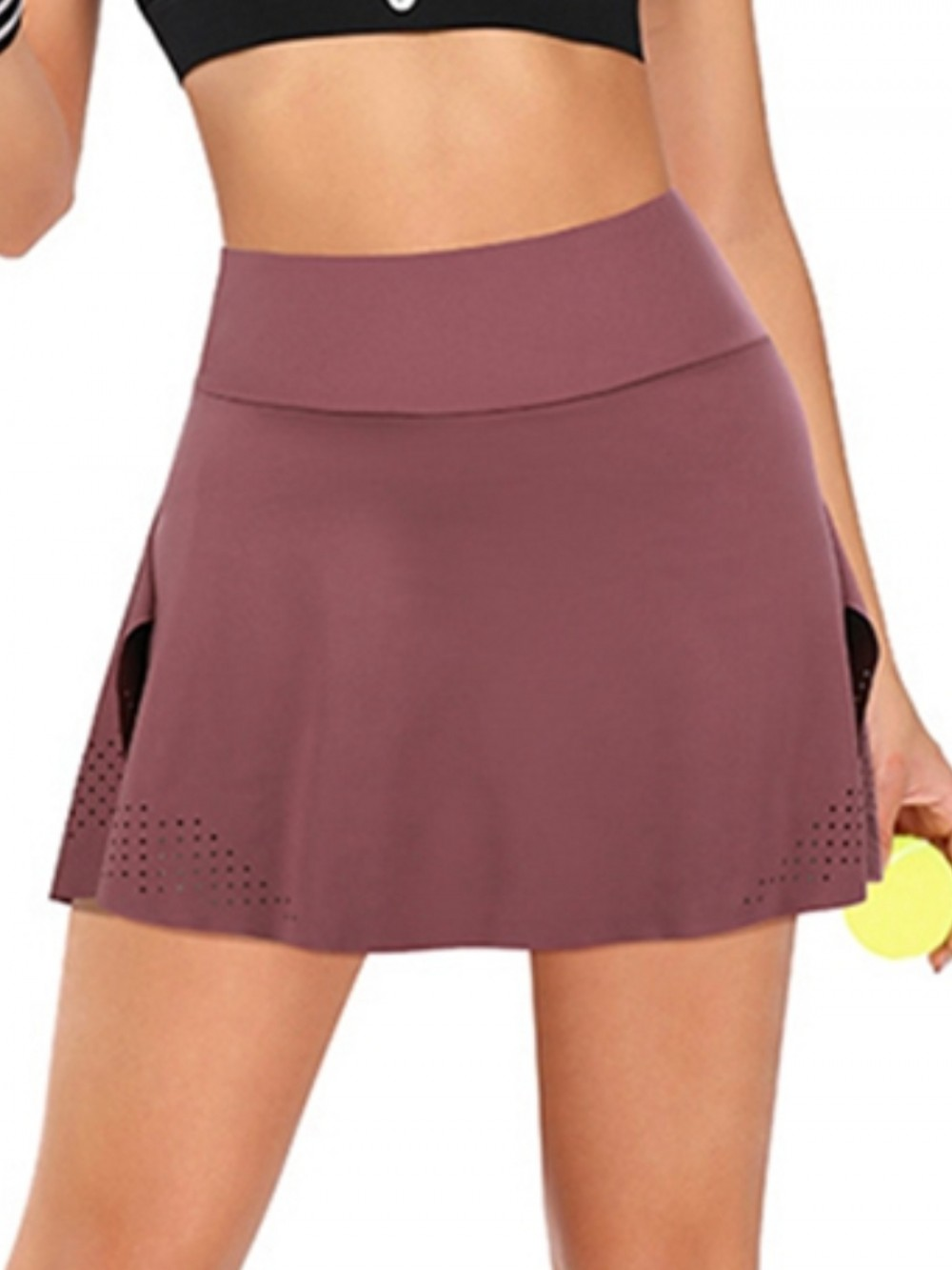 Red High Waist Pleated Tennis Skirt With Pockets For Fitness