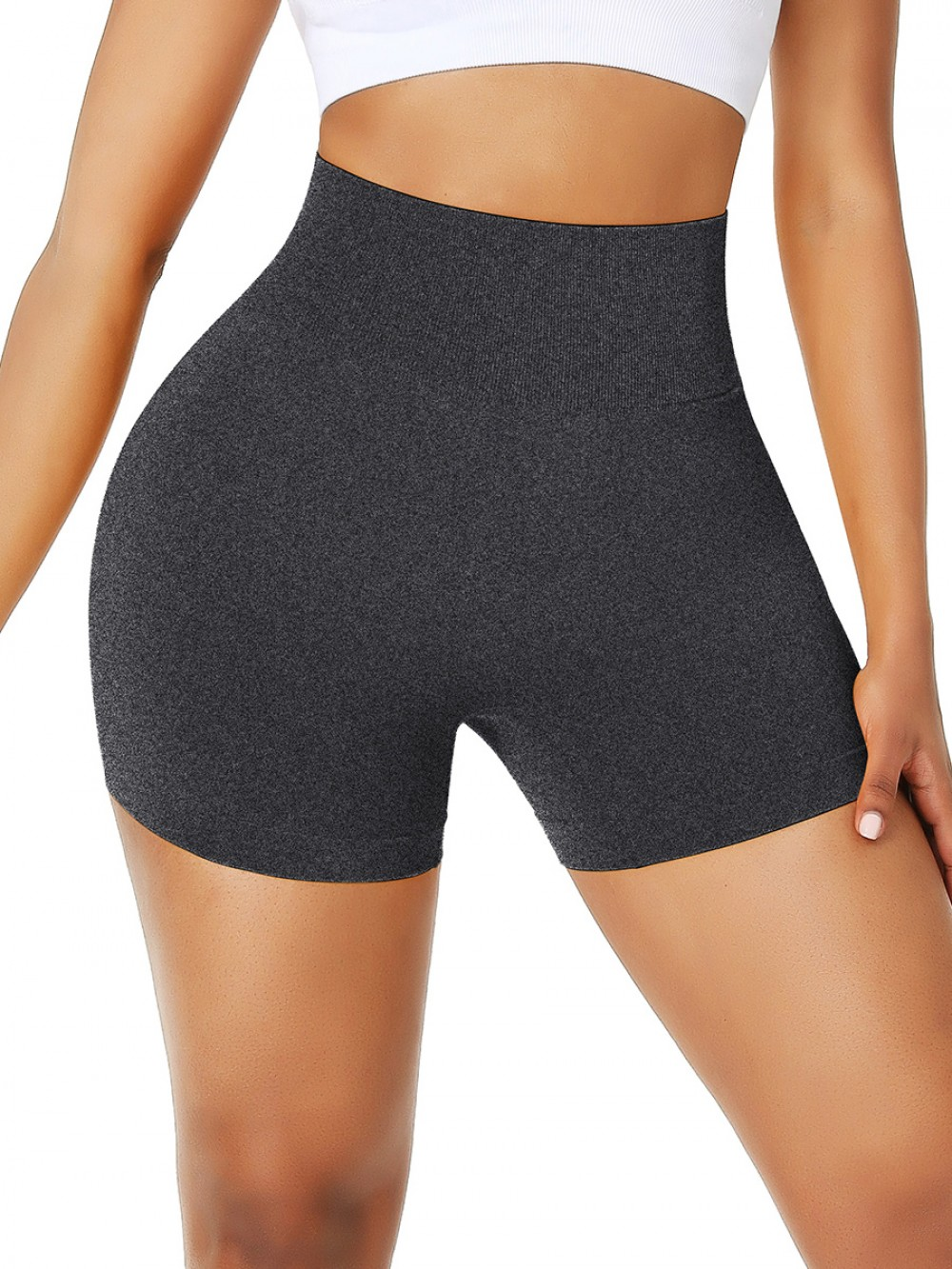 Black High Waist Stretch Gym Shorts No Pockets Solid Color Fabulous Fit