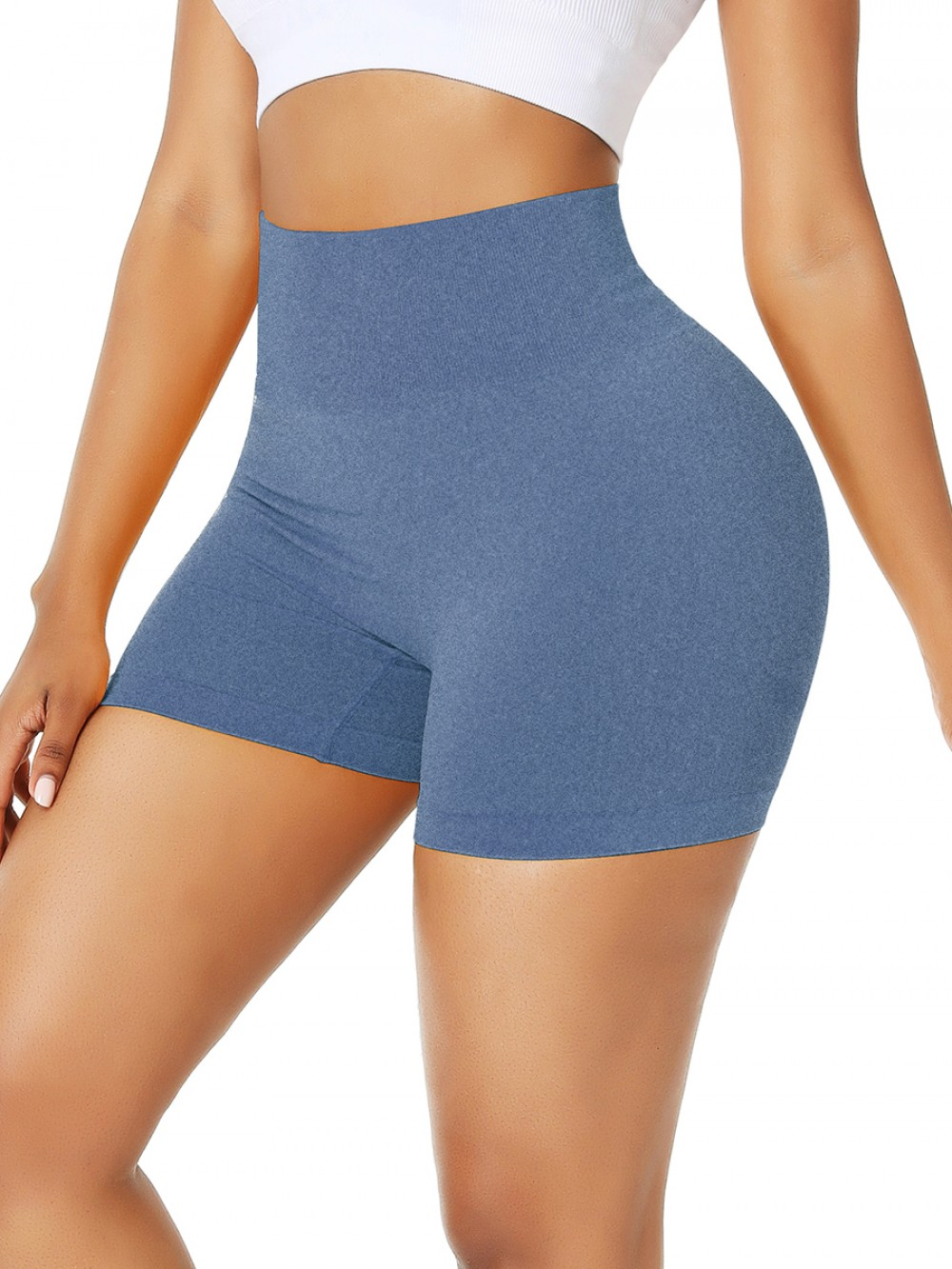 Blue Slim Sports Shorts Thigh Length Solid Color Workout Apparel